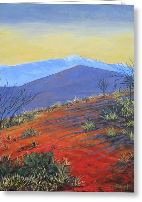Red Landscape Greeting Card by Gene Foust