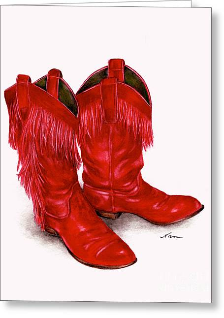 Red Leather Fringed Cowboy Boots Greeting Card