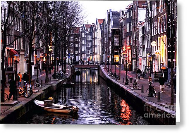 Red Light District Greeting Card by John Rizzuto