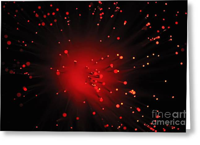 Red Light From Fiber Optic Greeting Card by Sami Sarkis