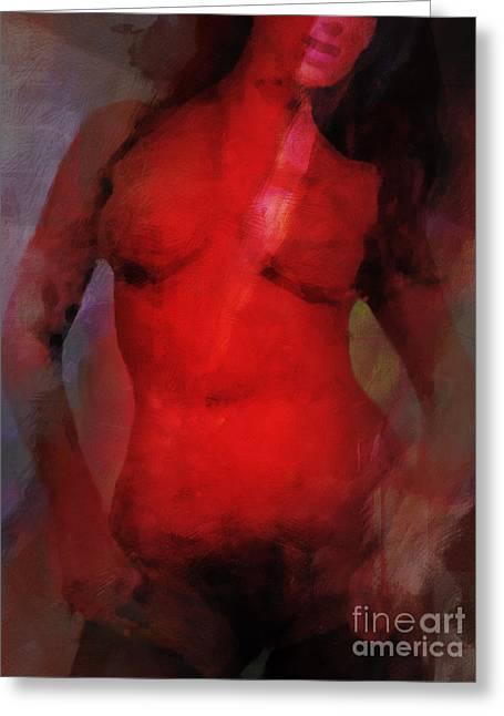 Red Light Nude Greeting Card by Lutz Baar