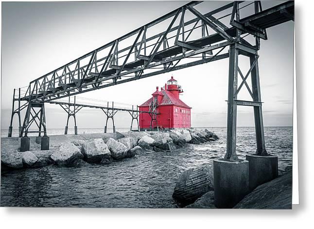 Red Light On Lake Michigan Greeting Card