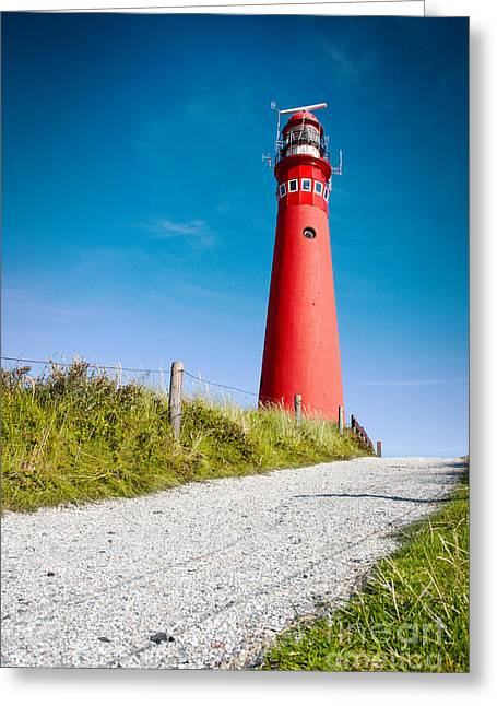 Red Lighthouse And Deep Blue Sky. Greeting Card