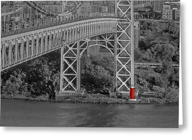 Red Lighthouse And Great Gray Bridge Bw Greeting Card