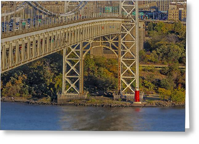 Red Lighthouse And Great Gray Bridge Greeting Card