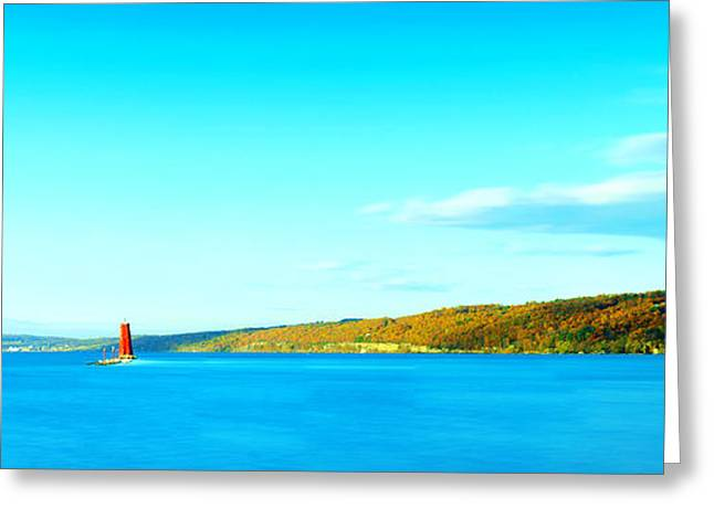Red Lighthouse In Cayuga Lake New York Panoramic Photography Greeting Card by Paul Ge
