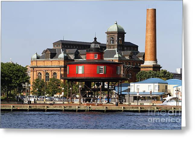 Red Lighthouse Of Baltimore Greeting Card by George Oze