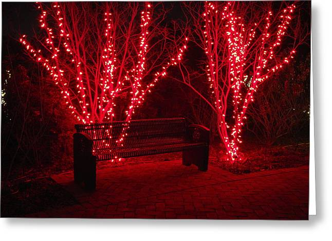 Red Lights And Bench Greeting Card by Rodney Lee Williams