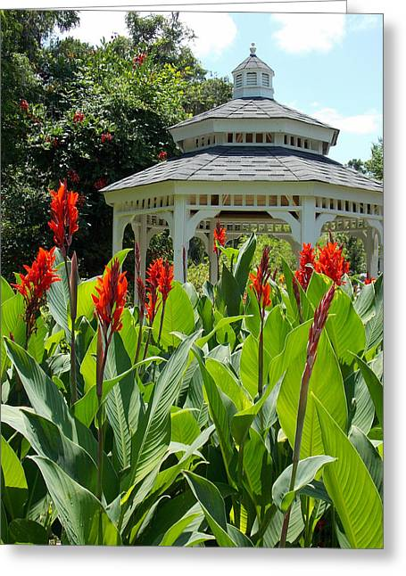 Red Lily Gazebo Garden Greeting Card