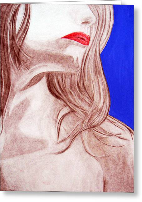 Red Lips Greeting Card by J Anthony