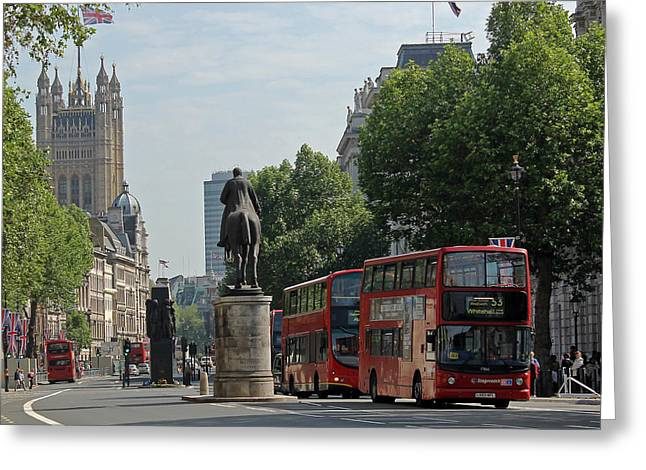 Red London Bus In Whitehall Greeting Card