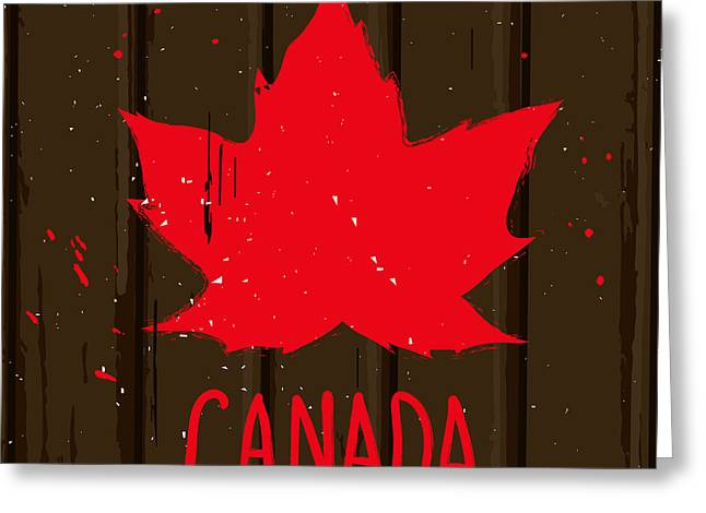 Red Maple Leaf On Brown Wood Wall Greeting Card