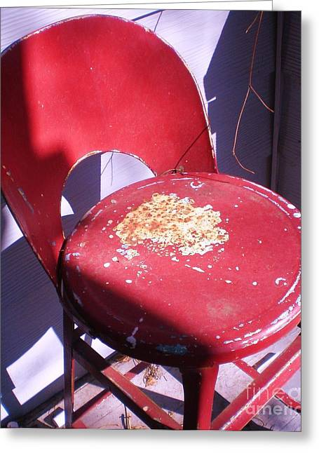 Red Metal Chair Greeting Card