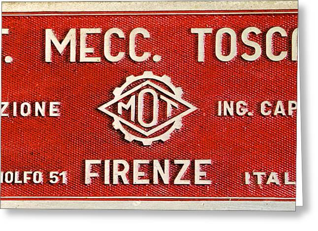 Red Metal Sign Of Tuscany Greeting Card by David Letts