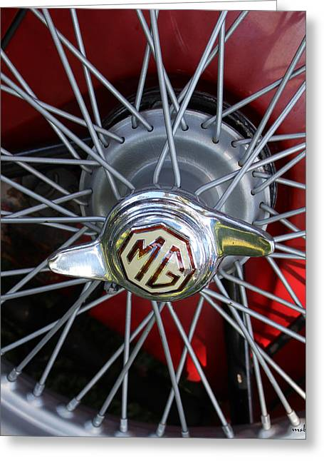 Red Mg Wire Spoke Rim Greeting Card by Mark Steven Burhart