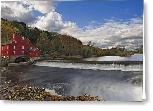 Red Mill At Clinton New Jersey Greeting Card by Susan Candelario