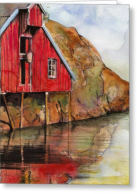 Red Mill On The Waterfront Greeting Card
