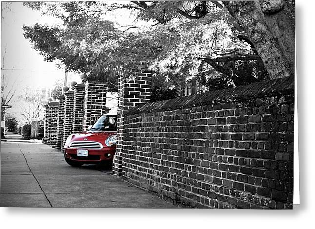 Greeting Card featuring the photograph Red Mini Cooper- The Debut by Nancy Dole McGuigan