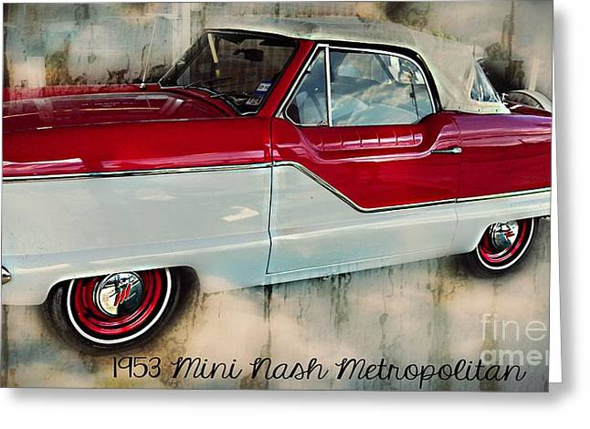 Red Mini Nash Vintage Car Greeting Card by Peggy Franz