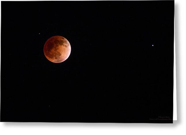 Red Moon And Spica By Denise Dube Greeting Card