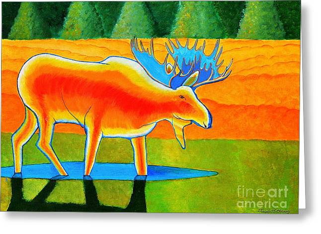 Greeting Card featuring the painting Red Moose by Joseph J Stevens