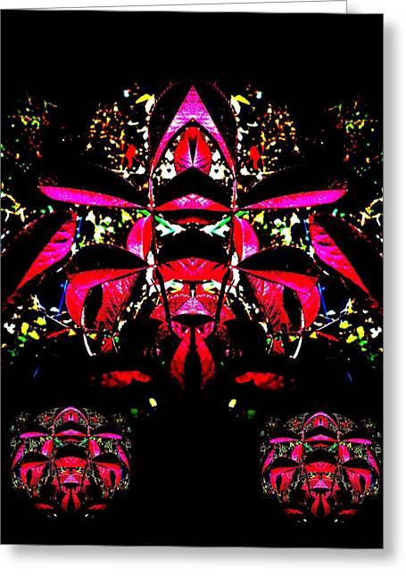 Greeting Card featuring the digital art Red Mosaic by Aliceann Carlton
