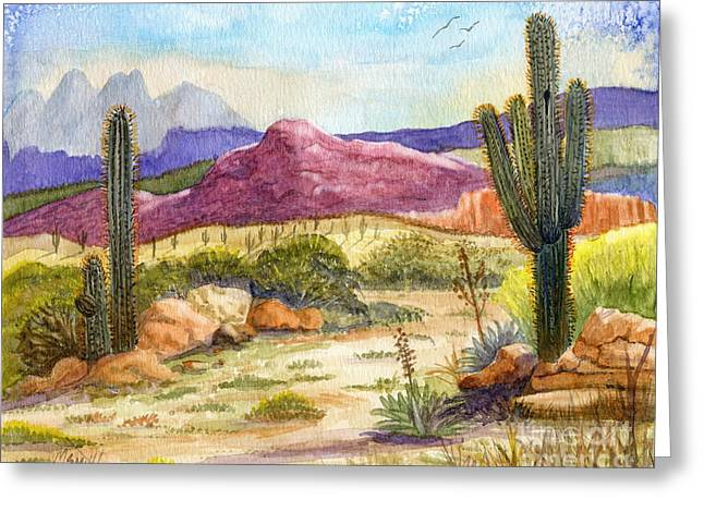 Red Mountain Ranch Greeting Card by Marilyn Smith