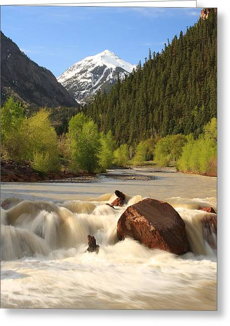 Greeting Card featuring the photograph Red Mountain Snowmelt by Scott Rackers