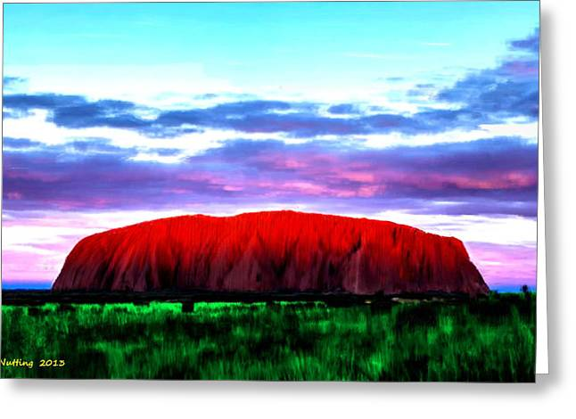 Greeting Card featuring the painting Red Mountain Sunset by Bruce Nutting
