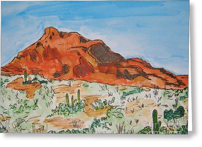 Red Mt Greeting Card by Marcia Weller-Wenbert
