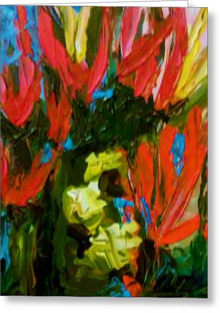 Greeting Card featuring the painting Red N Blue by Ray Khalife