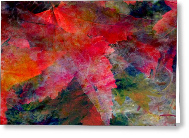 Greeting Card featuring the painting Red Nature Abstract Autumn Leaf by John Fish