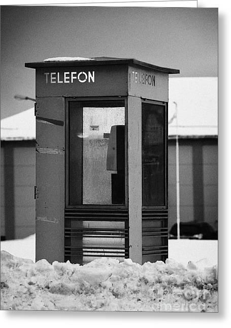 Red Norwegian Telenor Telefon Box Buried In The Snow Norway Europe Greeting Card by Joe Fox