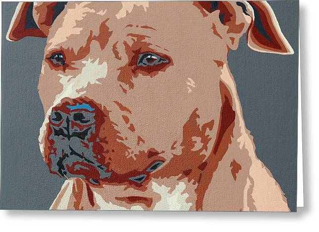 Red Nose Pit Bull Greeting Card by Slade Roberts