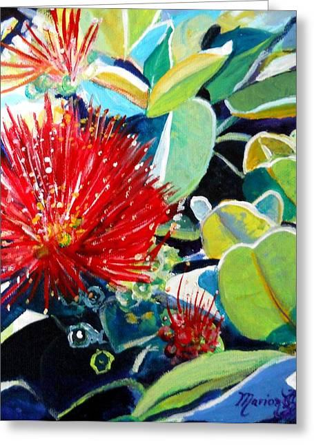 Red Ohia Lehua Flower Greeting Card
