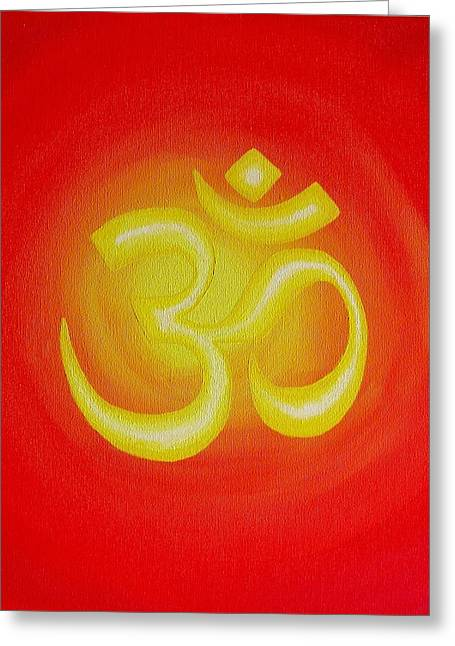 Red Om Greeting Card by Michelle Eshleman