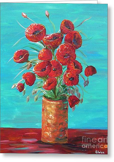 Greeting Card featuring the painting Red On My Table  by Eloise Schneider