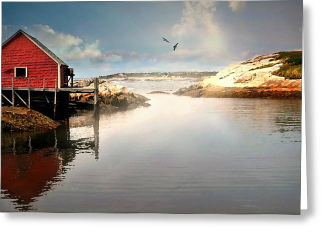 Red On The Cove Greeting Card