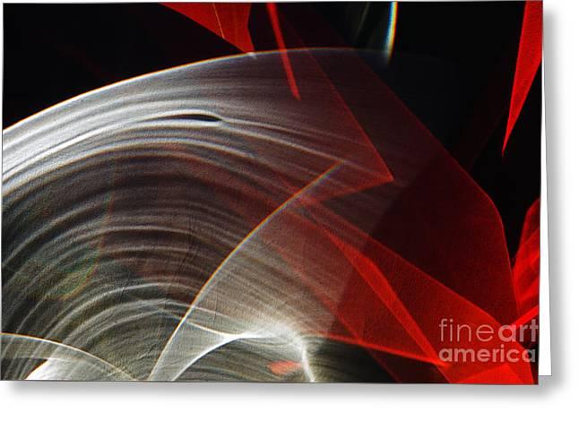Red Optical Cut Glass Greeting Card by Elena Lir-Rachkovskaya
