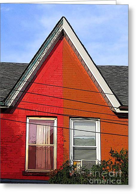 Greeting Card featuring the photograph Red-orange House by Nina Silver