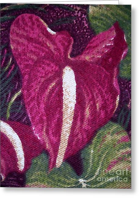 Red Orchid Print Greeting Card