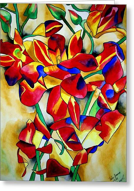 Red Orchids Greeting Card by Sacha Grossel