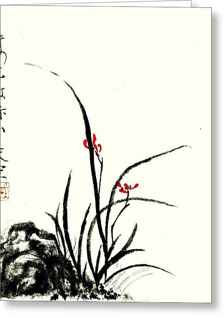 Red Orchids Greeting Card by Tenku