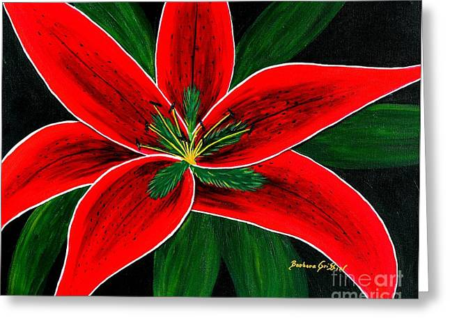 Red Oriental Lily Greeting Card by Barbara Griffin
