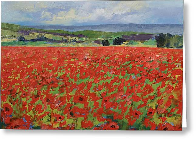 Red Oriental Poppies Greeting Card by Michael Creese