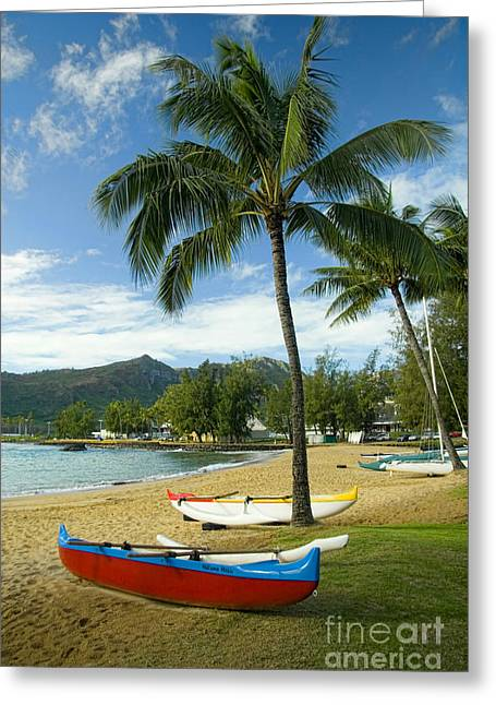 Red Outrigger Canoe In Kauai Greeting Card by David Smith