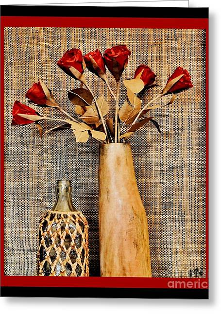 Red Paper Roses Still Life Greeting Card by Marsha Heiken
