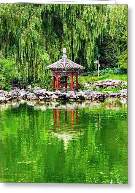 Red Pavilion Along Green Garden Pond Greeting Card