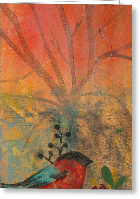 Greeting Card featuring the painting Red Peace Bird by Robin Maria Pedrero