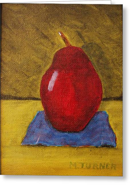 Red Pear Greeting Card by Melvin Turner
